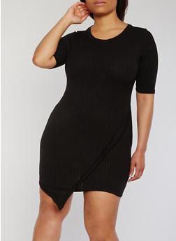 Plus Size Rib Knit Asymmetrical T Shirt Dress - 1390058758828