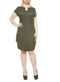 Plus Size Marled Rib Knit Dress with Split Neck And Gold Metallic Bars - 1390058930006