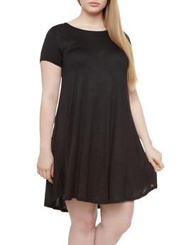 Plus Size Short Sleeve Trapeze Dress With Criss Cross Back,BLACK,medium