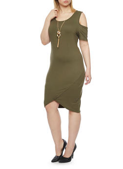 Plus Size Cold Shoulder Dress with Tulip Hem and Necklace - 1390058930111