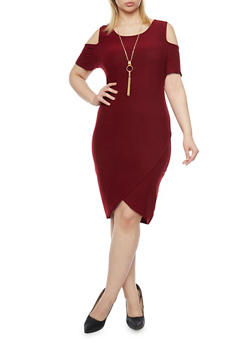Plus Size Cold Shoulder Dress with Tulip Hem and Necklace - BURGUNDY - 1390058930111