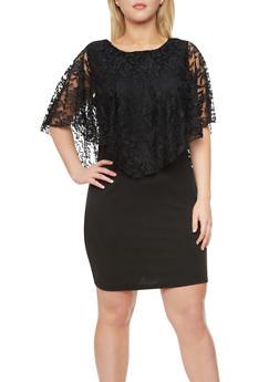 Plus Size Sleeveless Dress With Lace Overlay,BLACK,medium