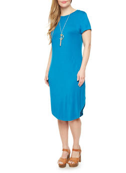 Plus Size T Shirt Dress With Necklace,TEAL,medium