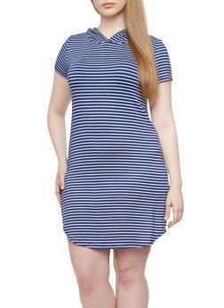 Plus Size Striped Dress With Hood,NAVY,medium
