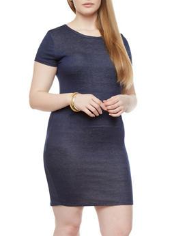 Plus Size Knit Denim Dress With Kangaroo Pocket,NAVY,medium