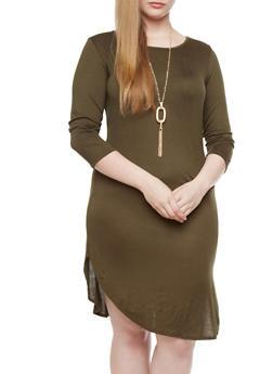 Plus Size Knit Midi Dress With Necklace,OLIVE,medium