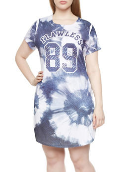 Plus Size Quilted T Shirt Dress With Flawless 89 Graphic,BLUE,medium