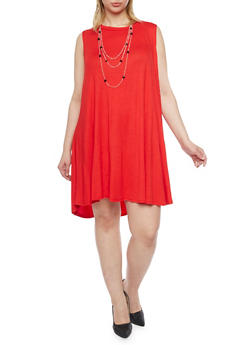 Plus Size Sleeveless Trapeze Dress with Attached Necklace - 1390058930712