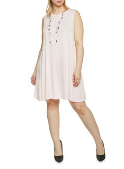 Plus Size Sleeveless Trapeze Dress with Attached Necklace - ROSE - 1390058930712