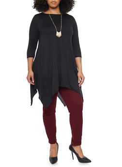 Plus Size Dress with Sharkbite Hem and Necklace - BLACK - 1390058930810