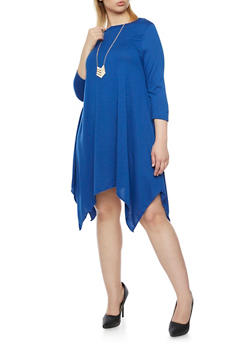 Plus Size Dress with Sharkbite Hem and Necklace - 1390058930810