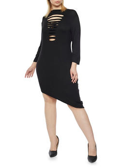 Plus Size Distressed Mock Neck Dress with Asymmetrical Hem - BLACK - 1390058930811