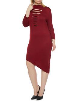 Plus Size Distressed Mock Neck Dress with Asymmetrical Hem - 1390058930811