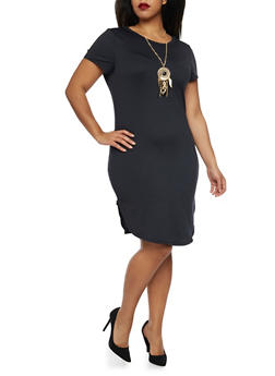 Plus Size T Shirt Dress with Dreamcatcher Necklace - BLACK - 1390058931107