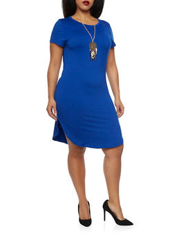 Plus Size T Shirt Dress with Dreamcatcher Necklace - 1390058931107