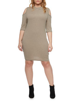 Plus Size Cold Shoulder Midi Dress with Striped Print - 1390058931117
