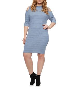 Plus Size Cold Shoulder Midi Dress with Striped Print - 1390058931117
