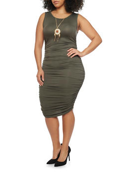 Plus Size Sleeveless Bodycon Dress with Ruched Skirt - SAGE - 1390058932110