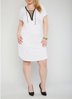 Plus Size Plunging Lace Up  Bodycon Dress - WHITE - 1390058933128