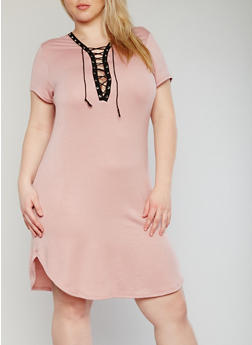 Plus Size Plunging Lace Up  Bodycon Dress - BLUSH - 1390058933128