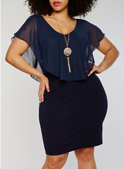Plus Size Soft Knit V Neck Dress with Necklace - 1390058935036