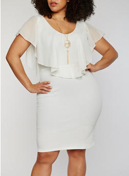 Plus Size Soft Knit V Neck Dress with Necklace - IVORY S - 1390058935036