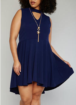Plus Size Keyhole Choker Neck Skater Dress with Necklace - 1390058935236