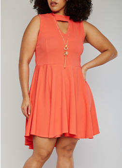Plus Size Keyhole Choker Neck Skater Dress with Necklace - 1390058935236