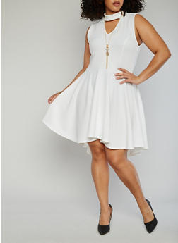 Plus Size Keyhole Choker Neck Skater Dress with Necklace - IVORY S - 1390058935236