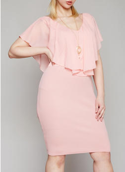 Plus Size Ruffled Chiffon Midi Dress with Necklace - 1390058935936