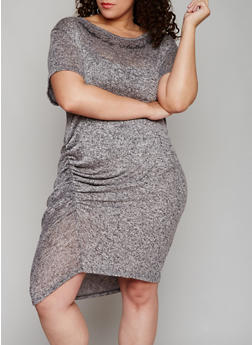 Plus Size Graphic Marled Dress with Ruching - 1390058936836