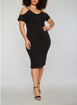 Plus Size Soft Knit Short Sleeve Cold Shoulder Midi Dress - 1390060580450