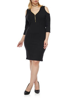 Plus Size Cold Shoulder Bodycon Dress with Zip Neck - BLACK - 1390060580656