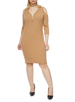 Plus Size Cold Shoulder Rib Knit Dress with Zip Neck - 1390060580656