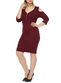Plus Size Cold Shoulder Bodycon Dress with Zip Neck - 1390060580656
