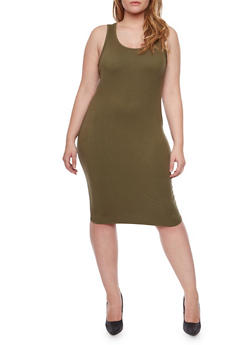 Plus Size Midi Tank Dress - 1390060581350