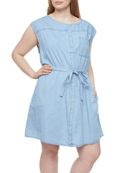 Plus Size Sleeveless Shift Dress With Lightwash Denim,LIGHT WASH,medium
