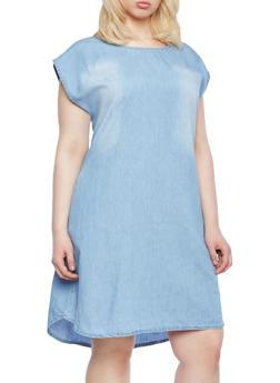 Plus Size Denim Shift Dress,MEDIUM WASH,medium