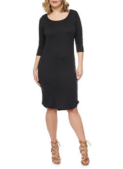 Plus Size ¾ Sleeve Solid T Shirt Dress - BLACK - 1390060582350