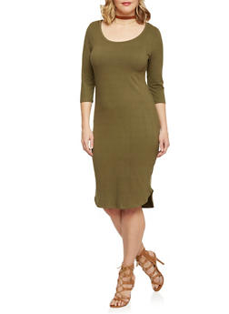 Plus Size ¾ Sleeve Solid T Shirt Dress - OLIVE - 1390060582350