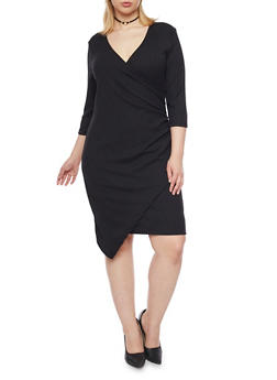 Plus Size Faux Wrap Dress with Asymmetrical Hem - BLACK - 1390060582656