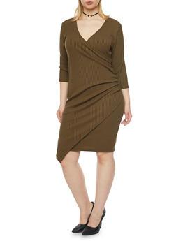 Plus Size Faux Wrap Dress with Asymmetrical Hem - 1390060582656