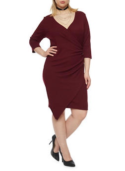 Plus Size Faux Wrap Dress with Asymmetrical Hem - 1390060582656