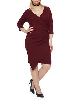 Plus Size Faux Wrap Dress - 1390060582656