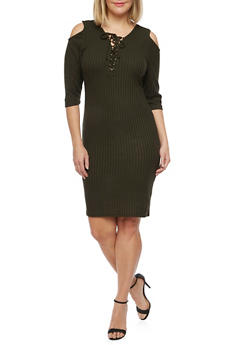 Plus Size Lace Up Cold Shoulder Sweater Dress - OLIVE - 1390060582679