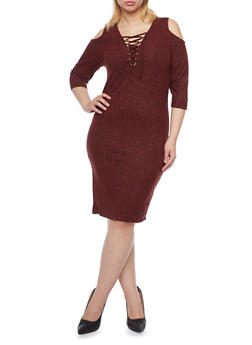 Plus Size Lace Up Cold Shoulder Sweater Dress - RUST - 1390060582679