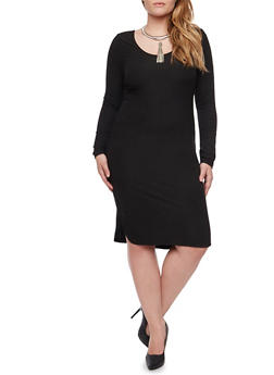 Plus Size Ribbed Midi Dress with Scoop Neck - BLACK - 1390060582758