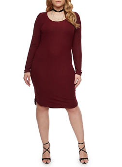 Plus Size Ribbed Midi Dress with Scoop Neck - BURGUNDY - 1390060582758