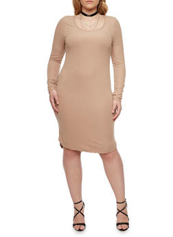 Plus Size Ribbed Midi Dress with Scoop Neck - 1390060582758