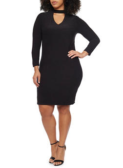 Plus Size Keyhole Long Sleeve Bodycon Dress - BLACK - 1390060583250